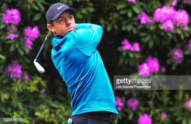 Rory McIlroy of Northern Ireland tees off during the first round of the BMW PGA Championship at Wentworth on May 247 2018 in Virginia Water England