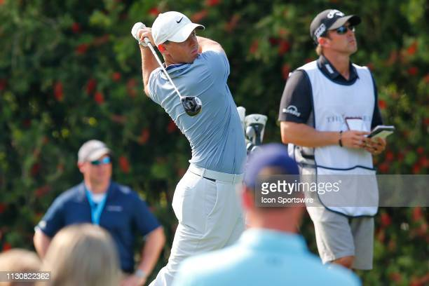 Rory McIlroy of Northern Ireland tees off on the 10th hole during the second round of THE PLAYERS Championship on March 15 2019 on the Stadium Course...