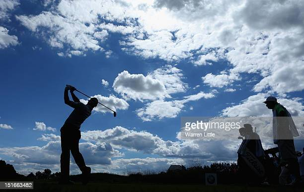 Rory McIlroy of Northern Ireland tees off on the 10th hole during the final round of the BMW Championship at Crooked Stick Golf Club on September 9,...