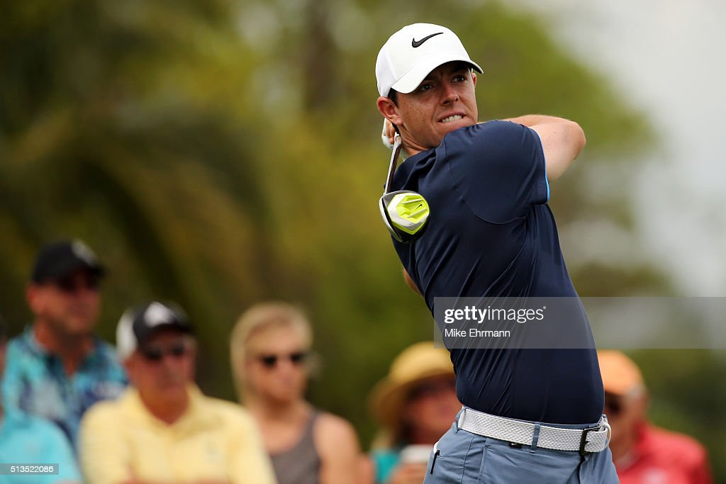 Rory McIlroy of Northern Ireland tees off on the 11th hole during the first round of the World Golf Championships-Cadillac Championship at Trump National Doral Blue Monster Course on March 3, 2016 in Doral, Florida.