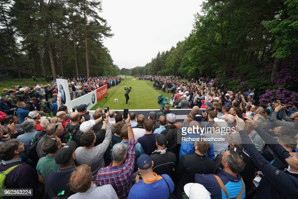 Rory McIlroy of Northern Ireland tees off on the 12th hole during the second round of the BMW PGA Championship at Wentworth on May 25, 2018 in...
