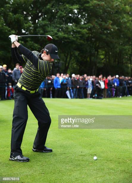Rory McIlroy of Northern Ireland tees off on the 15th hole during day three of the BMW PGA Championship at Wentworth on May 24 2014 in Virginia Water...