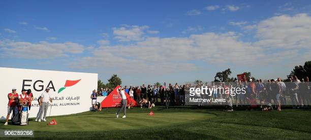 Rory McIlroy of Northern Ireland tees off on the 15th hole during day one of the Abu Dhabi HSBC Golf Championship at Abu Dhabi Golf Club on January...