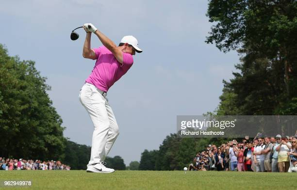 Rory McIlroy of Northern Ireland tees off on the 15th hole during the final round of the BMW PGA Championship at Wentworth on May 27 2018 in Virginia...