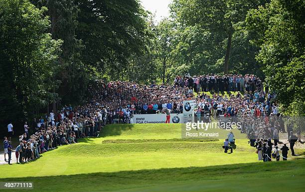 Rory McIlroy of Northern Ireland tees off on the 17th hole during day four of the BMW PGA Championship at Wentworth on May 25, 2014 in Virginia...