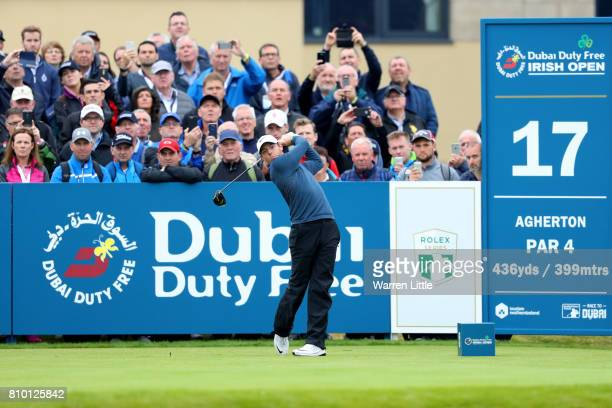 Rory McIlroy of Northern Ireland tees off on the 17th hole during day two of the Dubai Duty Free Irish Open at Portstewart Golf Club on July 7 2017...