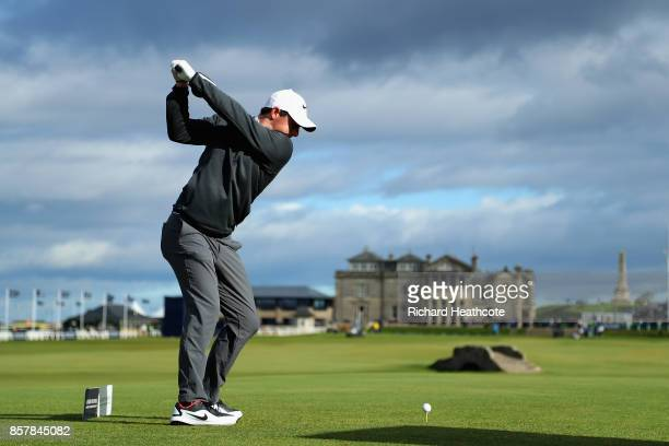 Rory McIlroy of Northern Ireland tees off on the 18th during day one of the 2017 Alfred Dunhill Championship at The Old Course on October 5 2017 in...