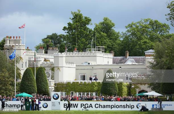Rory McIlroy of Northern Ireland tees off on the 1st hole during day three of the BMW PGA Championship at Wentworth on May 24 2014 in Virginia Water...
