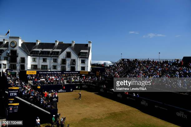 Rory McIlroy of Northern Ireland tees off on the 1st hole during round one of the 147th Open Championship at Carnoustie Golf Club on July 19 2018 in...