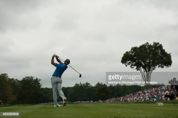 Rory McIlroy of Northern Ireland tees off on the 1st tee during the Third Round of the 96th PGA Championship, at Valhalla Golf Club, on August 9,...