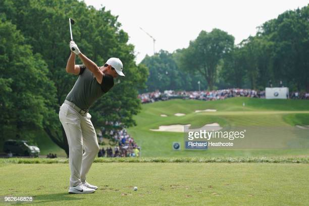 Rory McIlroy of Northern Ireland tees off on the 2nd hole during the third round of the BMW PGA Championship at Wentworth on May 26 2018 in Virginia...