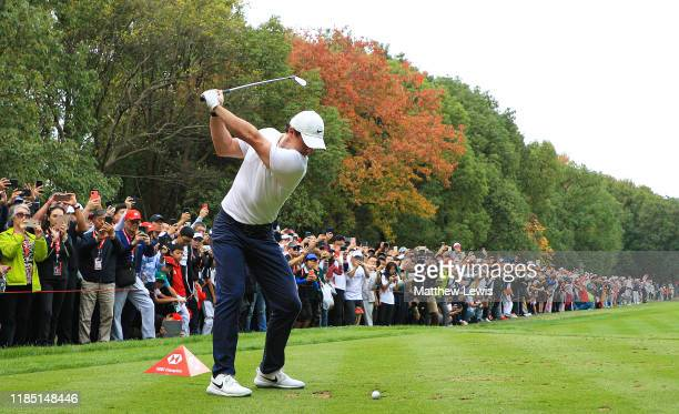 Rory McIlroy of Northern Ireland tees off on the 3rd hole during the final day of the WGC HSBC Champions at Sheshan International Golf Club on...