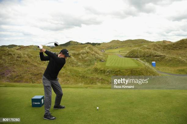 Rory Mcilroy of Northern Ireland tees off on the 7th during the ProAm of the Dubai Duty Free Irish Open at Portstewart Golf Club on July 5 2017 in...