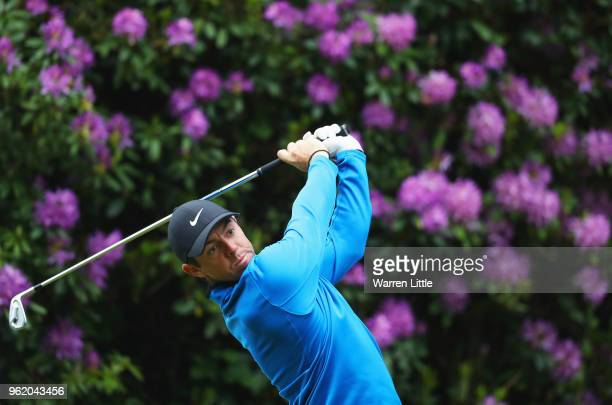 Rory McIlroy of Northern Ireland tees off on the 7th hole during day one of the BMW PGA Championship at Wentworth on May 24 2018 in Virginia Water...