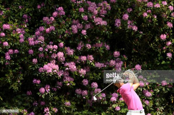 Rory McIlroy of Northern Ireland tees off on the 7th hole during day four and the final round of the BMW PGA Championship at Wentworth on May 27,...