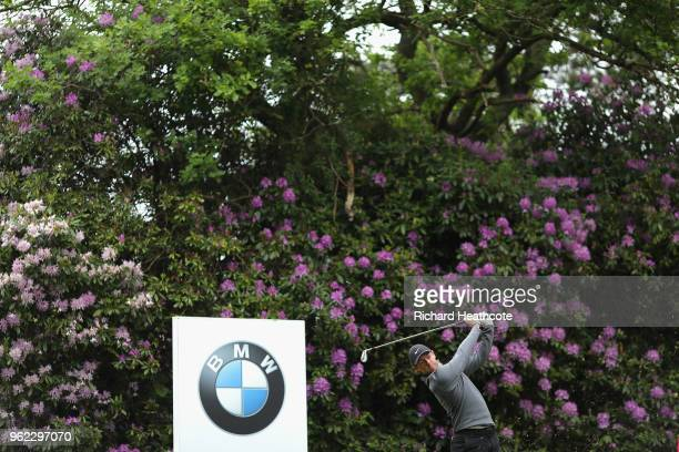 Rory McIlroy of Northern Ireland tees off on the 7th hole during the second round of the BMW PGA Championship at Wentworth on May 25 2018 in Virginia...