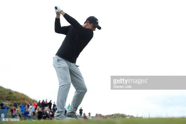 Rory McIlroy of Northern Ireland tees off on the 8th hole during day one of the Dubai Duty Free Irish Open at Portstewart Golf Club on July 6 2017 in...