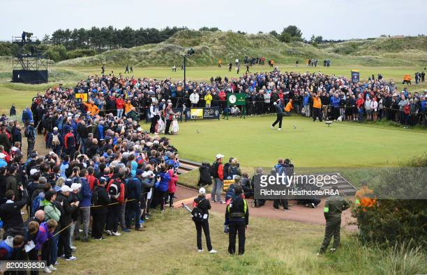 Rory McIlroy of Northern Ireland tees off on the 9th hole during the second round of the 146th Open Championship at Royal Birkdale on July 21 2017 in...