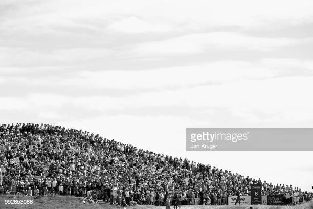 Rory McIlroy of Northern Ireland tees off on the eighth hole during the second round of the Dubai Duty Free Irish Open at Ballyliffin Golf Club on...