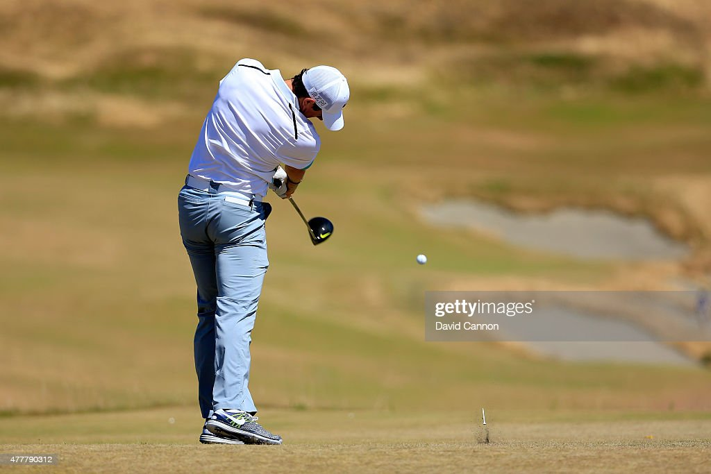 Rory McIlroy of Northern Ireland tees off on the fourth hole during the second round of the 115th U.S. Open Championship at Chambers Bay on June 19, 2015 in University Place, Washington.