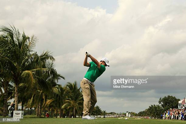 Rory McIlroy of Northern Ireland tees off on the second hole during the third round of the World Golf ChampionshipsCadillac Championship at Trump...