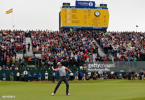 Rory McIlroy of Northern Ireland throws his ball into the crowd following his twostroke victory on the 18th green during the final round of The 143rd...