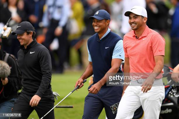 Rory McIlroy of Northern Ireland, Tiger Woods of the United States and Jason Day of Australia share a laugh on the 3rd hole during The Challenge:...