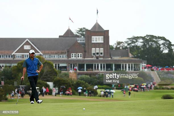 Rory McIlroy of Northern Ireland waits on the 1st green during day two of the Australian Open at Royal Sydney Golf Club on November 29, 2013 in...