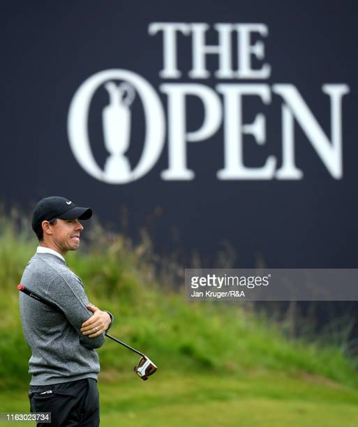 Rory McIlroy of Northern Ireland waits to play his third shot on the eighteenth hole during the second round of the 148th Open Championship held on...
