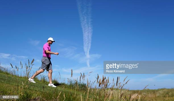 Rory McIlroy of Northern Ireland walking off of the 18th tee during a practice round prior to the Dubai Duty Free Irish Open at Ballyliffin Golf Club...