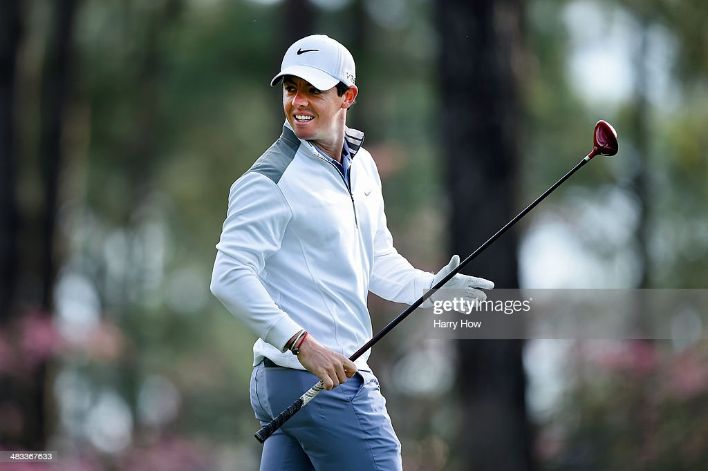 Rory McIlroy of Northern Ireland walks across a green during a practice round prior to the start of the 2014 Masters Tournament at Augusta National Golf Club on April 8, 2014 in Augusta, Georgia.