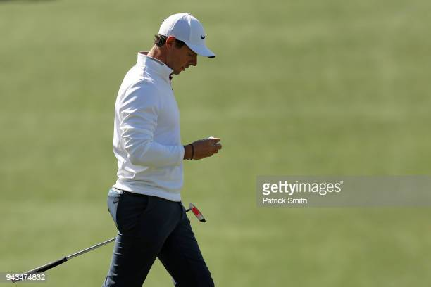 Rory McIlroy of Northern Ireland walks across the seventh green during the final round of the 2018 Masters Tournament at Augusta National Golf Club...