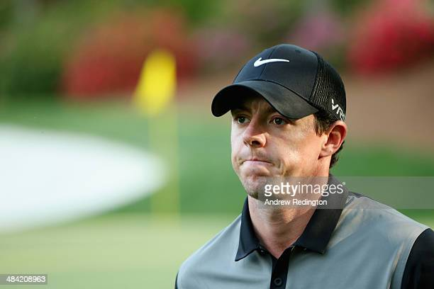 Rory McIlroy of Northern Ireland walks off of the 13th green during the second round of the 2014 Masters Tournament at Augusta National Golf Club on...