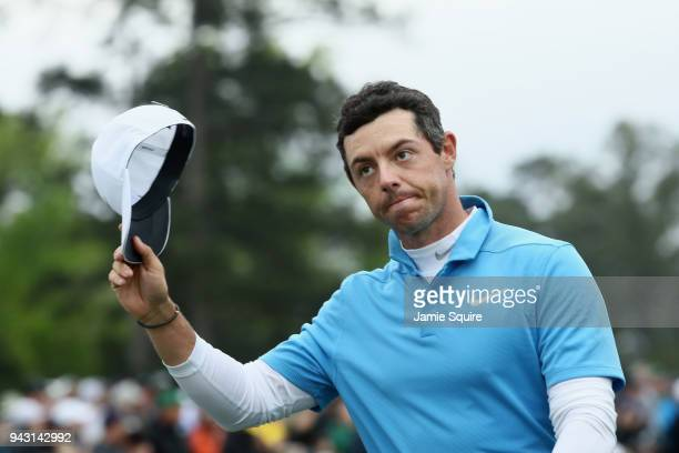 Rory McIlroy of Northern Ireland walks off on the 18th green during the third round of the 2018 Masters Tournament at Augusta National Golf Club on...