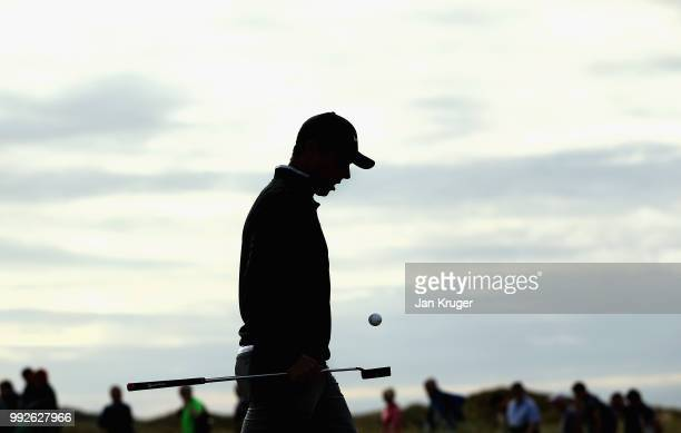 Rory McIlroy of Northern Ireland walks off the 10th green during the second round of the Dubai Duty Free Irish Open at Ballyliffin Golf Club on July...