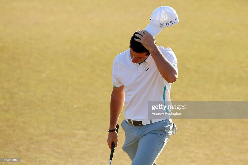 Rory McIlroy of Northern Ireland walks off the 18th green during the second round of the 115th U.S. Open Championship at Chambers Bay on June 19, 2015 in University Place, Washington.