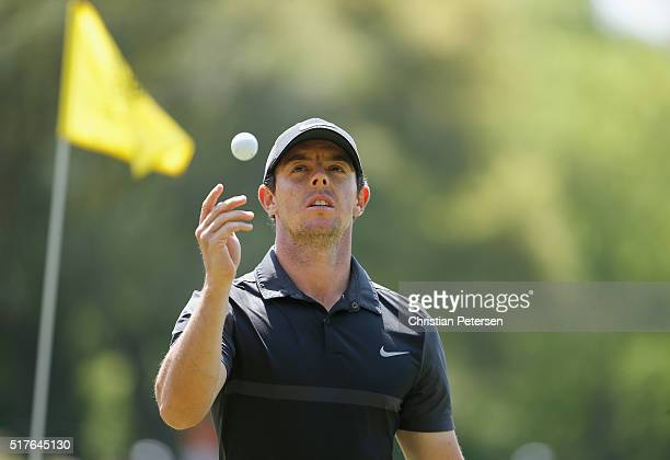 Rory McIlroy of Northern Ireland walks off the ninth green during the round of 8 in the World Golf ChampionshipsDell Match Play at the Austin Country...
