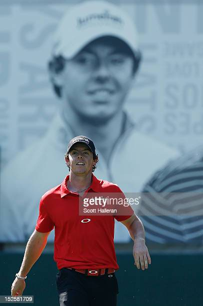 Rory McIlroy of Northern Ireland walks off the tenth tee during the third round of the TOUR Championship by CocaCola at East Lake Golf Club on...