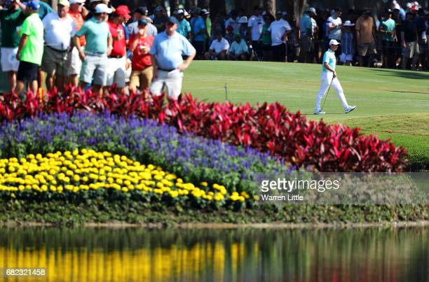 Rory McIlroy of Northern Ireland walks on the 16th hole during the second round of THE PLAYERS Championship at the Stadium course at TPC Sawgrass on...