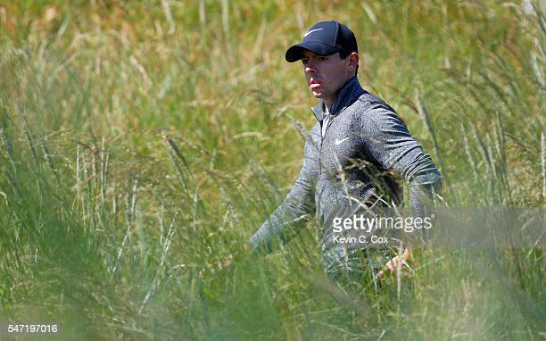 Rory McIlroy of Northern Ireland walks on the 6th during the first round on day one of the 145th Open Championship at Royal Troon on July 14 2016 in...