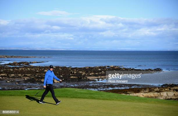 Rory McIlroy of Northern Ireland walks onto the 12th fairway during day three of the 2017 Alfred Dunhill Championship at Kingsbarns on October 7 2017...