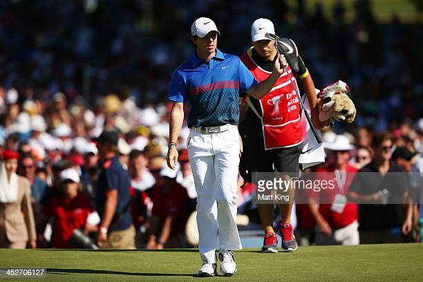 Rory McIlroy of Northern Ireland walks onto the 18th green during day four of the 2013 Australian Open at Royal Sydney Golf Club on December 1 2013...