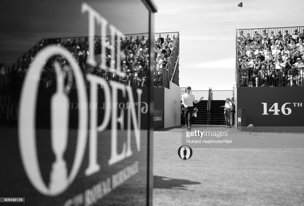 Rory McIlroy of Northern Ireland walks onto the 1st tee during the final round of the 146th Open Championship at Royal Birkdale on July 23, 2017 in Southport, England.