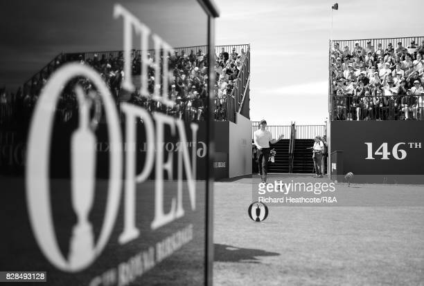 Rory McIlroy of Northern Ireland walks onto the 1st tee during the final round of the 146th Open Championship at Royal Birkdale on July 23 2017 in...