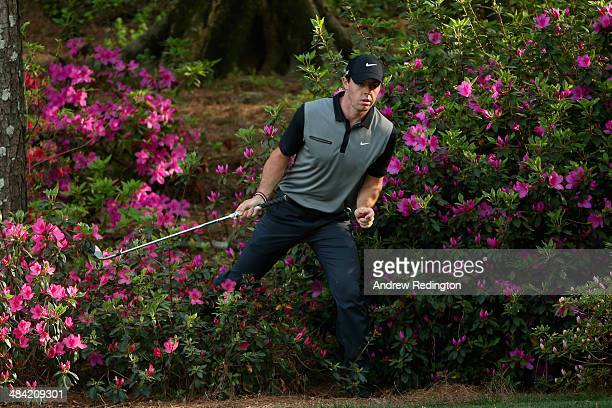 Rory McIlroy of Northern Ireland walks out of the azaleas bushes behind the 13th green after hitting a shot during the second round of the 2014...