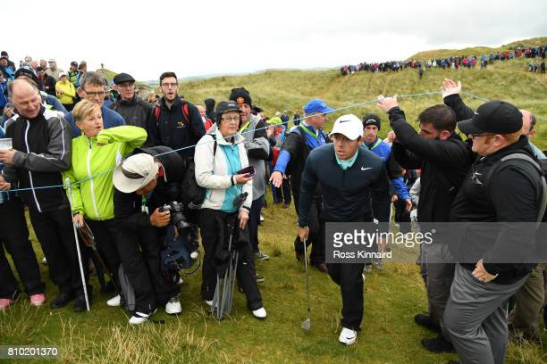 Rory McIlroy of Northern Ireland walks to the 9th green during day two of the Dubai Duty Free Irish Open at Portstewart Golf Club on July 7 2017 in...
