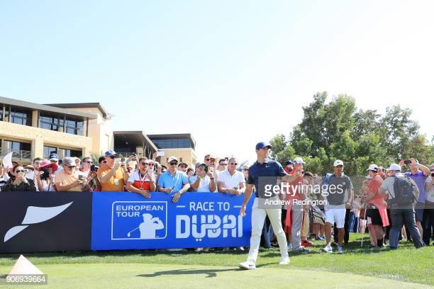 Rory McIlroy of Northern Ireland walks to the first tee during round two of the Abu Dhabi HSBC Golf Championship at Abu Dhabi Golf Club on January 19...