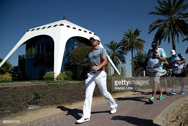 Rory McIlroy of Northern Ireland walks to the ninth tee box during the third round of the Omega Dubai Desert Classic on the Majlis Course at the...