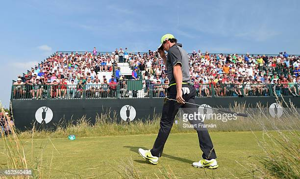 Rory McIlroy of Northern Ireland walks to the tenth tee during the second round of The 143rd Open Championship at Royal Liverpool on July 18 2014 in...