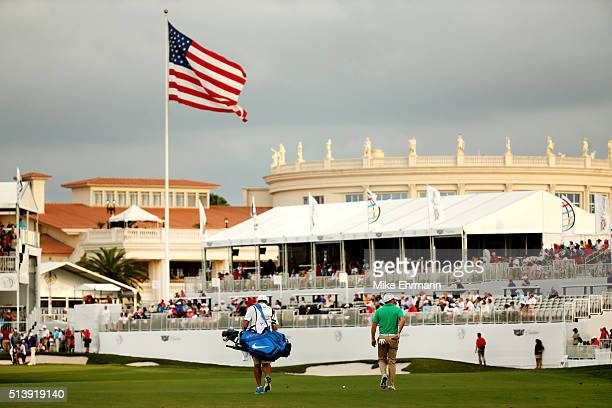 Rory McIlroy of Northern Ireland walks up the 18th hole during the third round of the World Golf ChampionshipsCadillac Championship at Trump National...